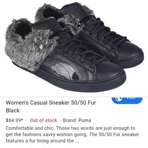 Women's Puma 50/50 Black Sneakers with Faux Fur 11